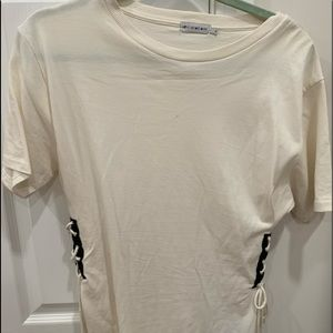 Urban Outfitters T-Shirt with black laced up corset detail, Size: Medium